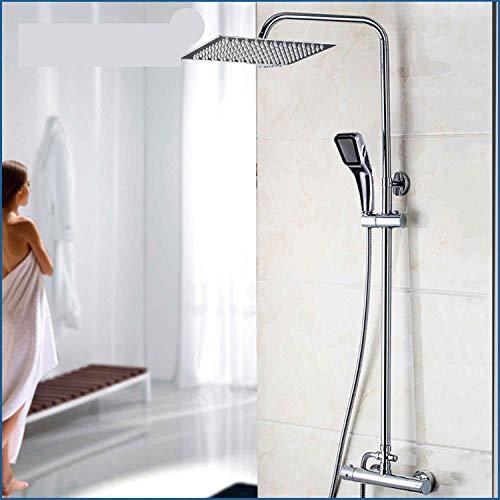 Bad Thermostat Badewanne Dusche Duschkopf Duschkopf Mischbatterie 8-16 Zoll Regenduschkopf Duschset Chrom poliert 16 Zoll