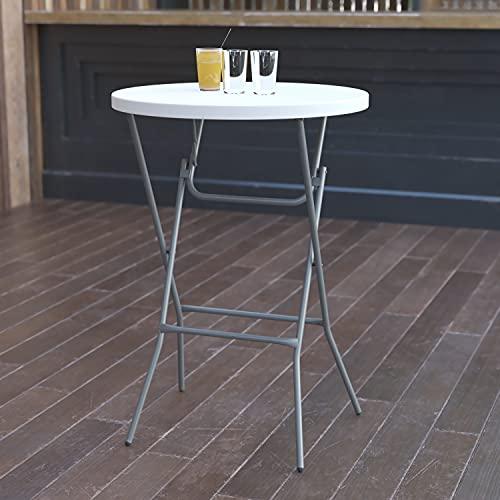 Flash Furniture 2.6-Foot Round Granite White Plastic Bar Height Folding Table