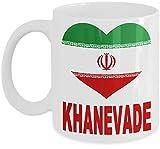 N\A Persisches Bechergeschenk für Familie - Khanevade - kennzeichnet iranisches Flaggen-Herz, Farsi-Sprache auf Rücken