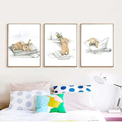 Yimesoy Tiere Boot Hase Kunstdrucke Poster 3 Stück Kinderzimmer Wandbild Pilz Schlitten Kaninchen Leinwand Leinwand Kinderzimmer Dekor 24