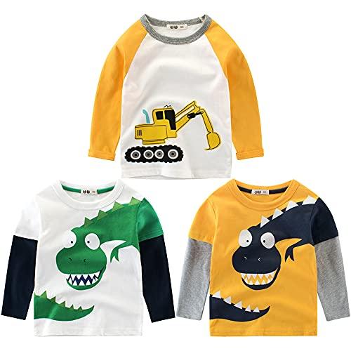 3er Pack Jungen Langarmshirt T Shirt Baby Kinder Jungen Rundhals Langarmshirt Baumwolle Shirt Dinosaurier Wagen Drucken T-Shirt Tops Kinder Shirt 1-7 Jahre Bagger 98-104