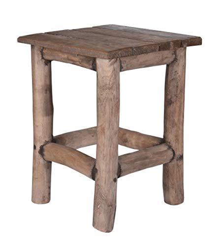 Spetebo Teak Holz Hocker massiv altes Holz - 42x30x30cm - Deko Hocker aus Holz - Holzhocker Blumenhocker