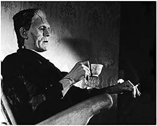 Boris Karloff as Frankenstein Seated on Set Drinking Tea and Smoking 8 x 10 Inch Photo