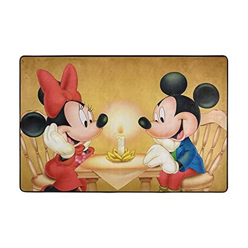 Alfombra de Mickey Cartoon Minnie Mouse adecuada para sala de estar, dormitorio, área de los niños, decoración de casa de arte suave y cómoda, 72 x 48 pulgadas
