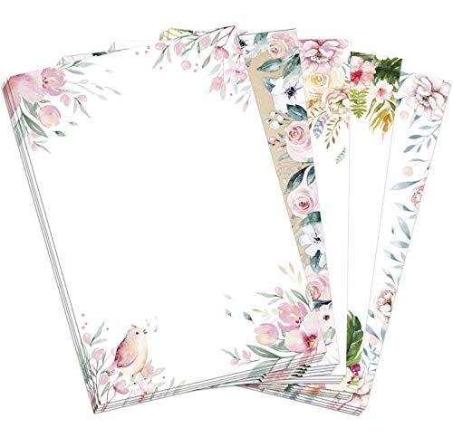 50 Blatt Briefpapier (A4) | Floraler Mix (5 x 10 Blatt) | Motivpapier | edles Design Papier | beidseitig bedruckt | Bastelpapier | 90 g/m²
