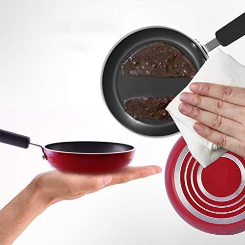 LYUN De tamaño Mini Tortilla Pan, Metal Un Huevo de Fondo Plano Wok fácil de Limpiar Antiadherente Cocina de Calentamiento rápido, 4,7 Pulgadas, Rojo