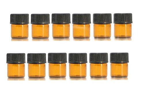 Ericotry - Juego de 12 botellas de aceites esenciales de cristal ámbar con reductor de olores y capuchón para aceites esenciales, productos químicos de laboratorio, cologías y perfumes