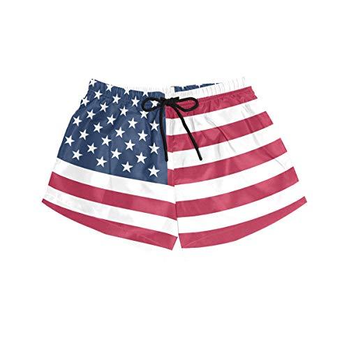 BONIPE Damen-Badehose, USA-Flagge, schnelltrocknend, mit Kordelzug und Taschen, Größe S Gr. S, mehrfarbig