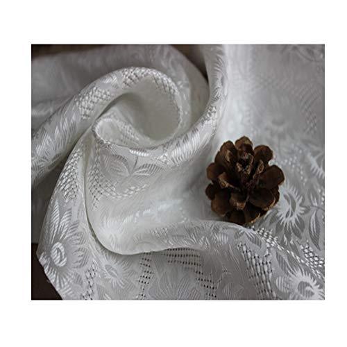 Anquanwang Prachtige zijde satijn glad en soepel wit zonnebloem patroon maken high-end kleding trouwjurk