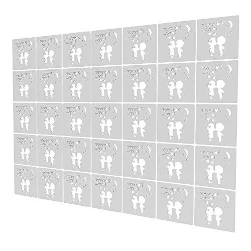 Biombo Divisor de 35 Piezas - 197x276cm - Blanco Room Divider Patrón De Pareja De Dibujos Animados Paneles Separador De Ambientes para Cocina, Despensa, Escritorio, Estantería, Armario