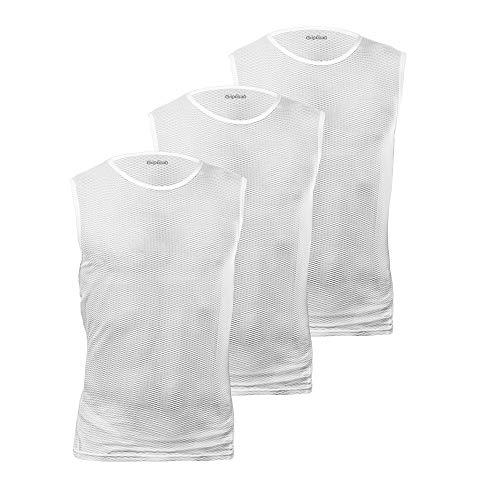 GripGrab Ultralight, ultraleichtes Mesh Radsport Fahrrad Unisex Ärmellos Unterhemd, 3er Pack, Weiß, L