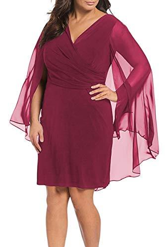 Houjibofa Damen Ärmelloses ärmelloses Mantel Capelet Kleid in Übergröße Red XXXXXL