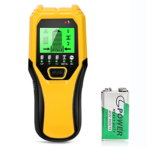 Stud Finder Sensor Wall Scanner - 5 in 1 Electronic Stud Sensor Locator Wood Beam Joist Finders Wall Detector Edge Center Finding with LCD Display for Wood Live AC Wire Metal Studs Detection (Yellow)