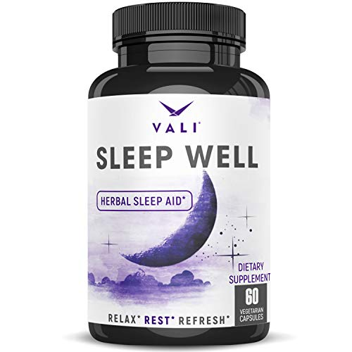 Sleep Well Natural Sleep Aid Supplement - Vegan Non Habit Forming Herbal Sleeping Pills To Calm, Relax Fast, Support Rest &Amp; Wake Refreshed. Melatonin, Valerian, Chamomile &Amp; More - 60 Veggie Capsules