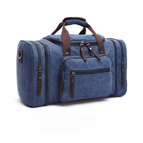 Pinhan Canvas Duffel Bag Travel Bag for Men Overnight Bag Weekender Duffle Bag,Navy Blue