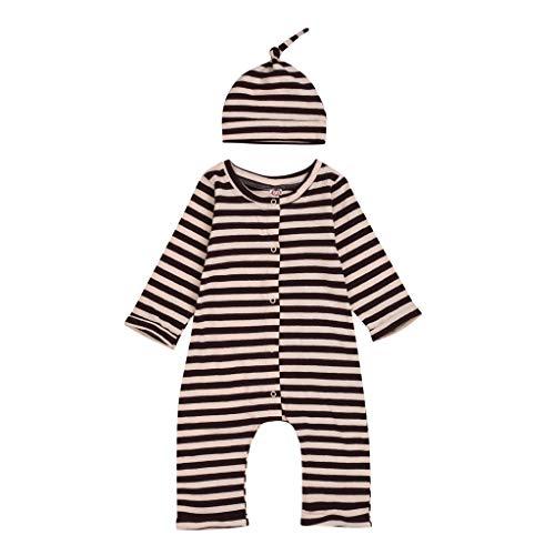 Kobay Neugeborenes Baby Mädchen Langarm gestreifte Strampler Jumpsuit Hut Kappe Baby Langarm gestreifte Jumpsuit Strampler Jumpsuit + Hut (0M-18M)
