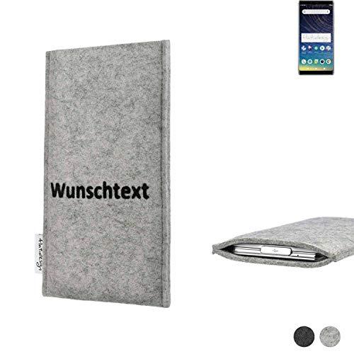 flat.design Handy Hülle Porto für Coolpad Legacy personalisierbare Handytasche Filz Tasche Name Wunschtext Hülle fair