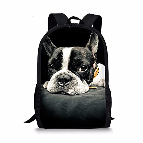 Mochila escolar con estampado personalizado y elegante, para niños, niñas y adolescentes, Bulldog/ perro carlino, Large