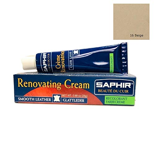 [Safir] Reno Hetze Farbe Reparaturcreme 25 ml Schuhe Tasche Kratzer verblasste Leder 9550851 Beige