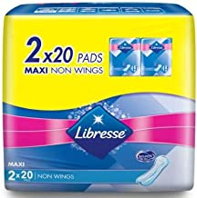 LIBRESSE Maxi Non Wing 2X20s - Wider Front Keeps The pad securely in Place to Prevent Leakage