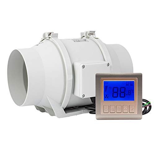 Hon&Guan 6 Inch Extractor Inline Duct Fan with Temperature & Timer - Bathroom Ventilation Fan with Intelligent Controller for Heating Cooling Booster, Grow Tents, Hydroponics (311 CFM)