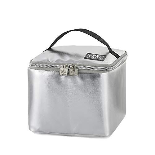 Be Cool City - Borsa termica impermeabile isolata, in argento, mini borsa frigo da 18 x 18 x 15 cm, capacità ca. 4,5 l