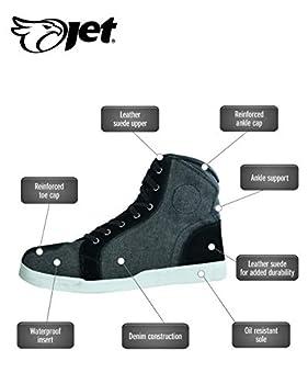 JET Bottes Chaussures Moto Homme Décontracté Imperméable Armure Denim Cuir (44 EU, Noir Gris)
