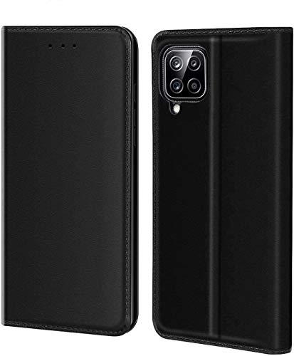 Aurstore Schutzhülle für Samsung Galaxy A12 5G (6,5 Zoll), Premium-Schutzhülle aus PU-Leder, Magnetverschluss, Schwarz
