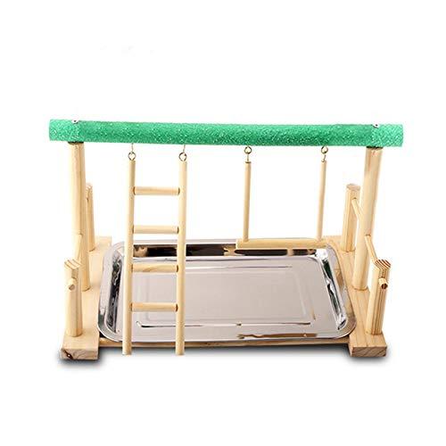 Qianele - Soporte para patio de pájaros con forma de pajarera, diseño de jaula de pájaros, escalera de madera con comedero para periquito, cacatúa, cacatúa, canarias, jaula de juguete de entrenamiento