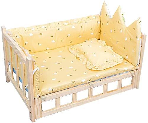 UIZSDIUZ Haustierbett Holz orthopädisches Hundebett, reizende Haustier-Bett, Sofa, for mittlere und große Hunde Waschbar Sofakissen mit Kopfstütze Katzenbett (Color : Style1, Size : M(75×50×42cm))