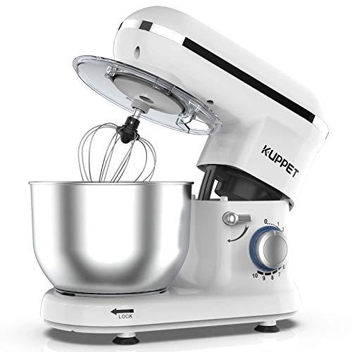Küchenmaschine, KUPPET 1300W mächtig Motor Knetmaschine Praxis Rührmaschine 4.5L, 10-stufige Geschwindigkeit Teigmaschine mit Rührbesen, Knethaken, Spritzschutz, Schläger (Weiß)