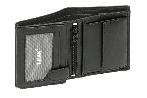 LEAS Mini-Kombibörse mit Riegel extra dünn im Hochformat Echt-Leder, schwarz Mini-Edition