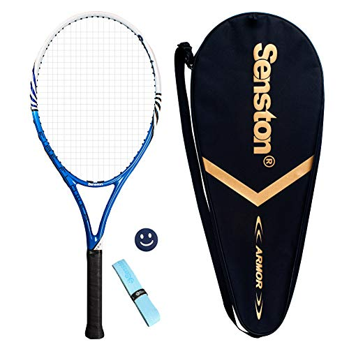Senston 27 inch Tennis Racket Professional Tennis Racquet,Good Control Grip,Strung with Cover,Tennis Overgrip, Vibration Damper(Blue White)