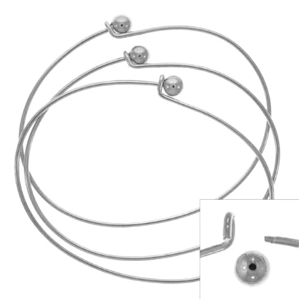 Beadaholique Silver Plated Wire Beading Bracelet with Ball, 3-Pack