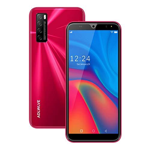 Moviles Libres 4G,6.0Pulgadas 3GB RAM 32GB ROM / 64GB Smartphone Libre Android 9.0 Face ID teléfonos móviles gratuitos, 8MP 4600mAh,Dual SIM Quad Core Moviles Buenos (Rojo)