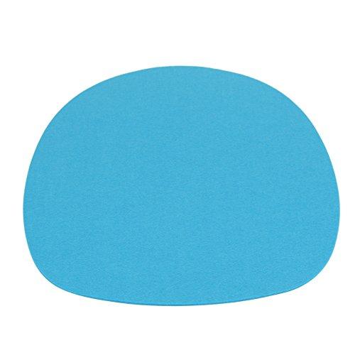 7even - Cuscino in feltro rotondo ovale, 35,5 x 39 cm, in feltro di forma circolare, da un lato, 4 mm, imbottitura in feltro, ideale per molti classici Sidechairs (35,5 x 39, blu)