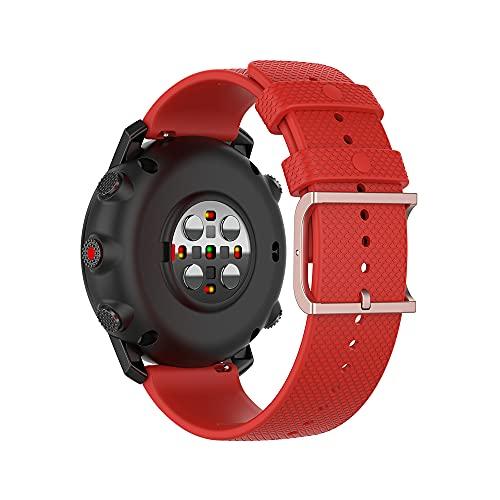 22mm Pulsera de Silicona Banda de Repuesto, Ficocean Correa de Reloj Compatible con Polar Vantage M /Polar Grit X / HUAWEI Watch GT Active/ GT 2 Pro/ GT 2e/ GT 46mm/ GT 2 46mm/ GT (Rojo)