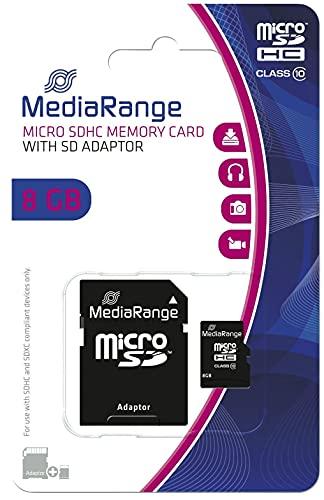 MediaRange MR956 Speicherkarte 8 GB MicroSDHC Klasse 10 - Speicherkarten (8 GB, MicroSDHC, Klasse 10, 15 MB/s, Schwarz)