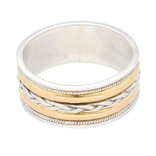 Jollys Jewellers - Alianza de boda para hombre, plata de ley y oro amarillo de 18 quilates (tamaño R), 9 mm de ancho