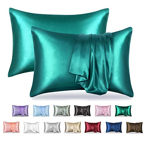 MR&HM Satin Pillowcase for Hair and Skin, 2 Pack Silky Satin Pillow Cases No Zipper, Queen Size Pillow Covers with Envelope Closure (20x30, Teal)