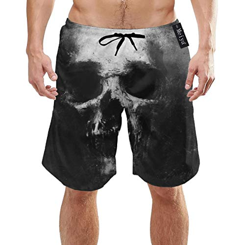 Ye Hua Scary Grunge Skull isoliert auf schwarzen Herren Badehosen Sommer 3D-Druck Grafik Casual Athletic Swimming Kurze Hose XL