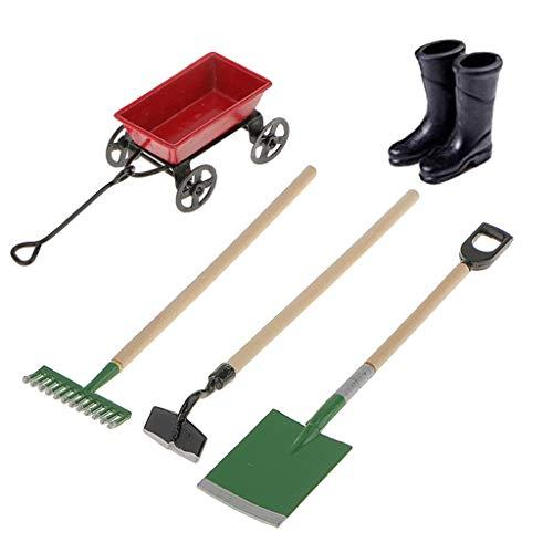 witgift Miniatura casa de muñecas, herramientas de jardín, accesorios de jardín, botas de goma, metal rojo, carretilla, raqueta, pala para micropaisajes, minijardín, casa, muebles, decoración