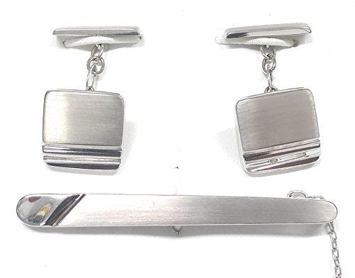 Jose María Set di gemelli e fermacravatta in oro bianco 18 k (8,7 grammi)