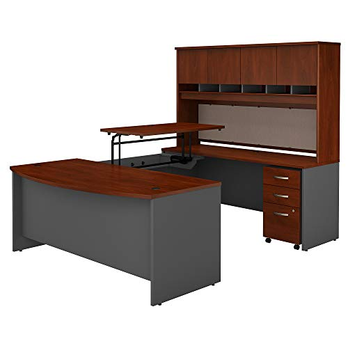 Bush Business Furniture Series C 72W x 36D 3 Position Sit to Stand Bow Front U Shaped Desk with Hutch and Mobile File Cabinet in Hansen Cherry/Graphite Gray