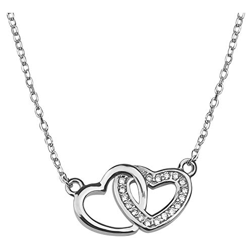 SOFIA MILANI - Damen Halskette 925 Silber - mit Zirkonia Steinen - Doppel Herz Anhänger - 50165