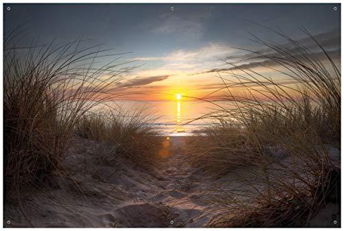 Wallario Garten-Poster Outdoor-Poster - Sonnenuntergang am Strand in Premiumqualität, Größe: 61 x 91,5 cm, für den Außeneinsatz geeignet