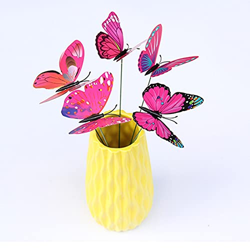 Poachers 24pcs PVC Simulation Butterfly Figurines Green Plant Crafts Decoration Garden Stakes Artificial Sticks Ornaments for Yard Patio Party Waterproof Flower Pots Lawn Supplies Outdoor Ornament
