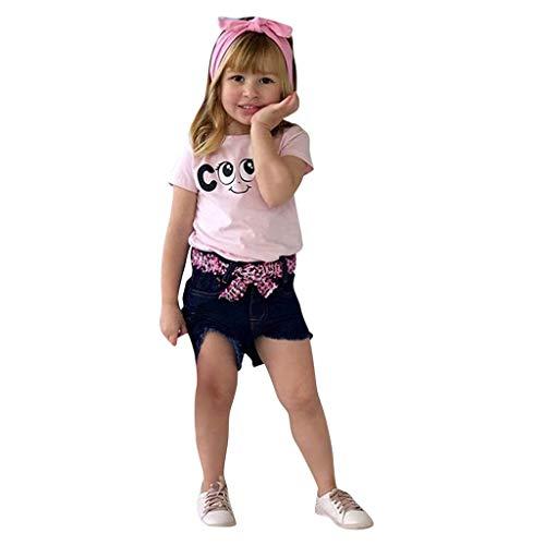 Longra Babykleidung mädchen Set Baby Girl Kid Letter Printed T Shirt Tops+ Jeans Shorts+Headband Outfits Set Babykleidung günstig babymode Kindermode online