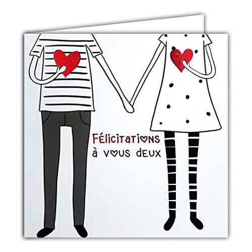 Afie 22044 Carte Carrée Rouge Brillant Félicitations à vous deux Couple Emménagement Pacs Mariage Fiançailles Annonce Grossesse Naissance Bébé