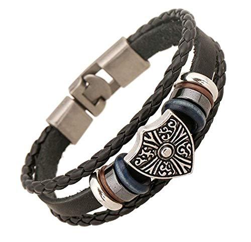 Retro Lederarmbänder Armbänder für Herren Armreif Shield Shape Cuff Bracelet Alloy Chain